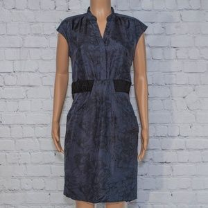 100% Silk navy blue and black dress